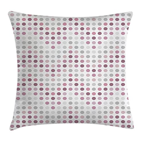 """Ambesonne Mauve Throw Pillow Cushion Cover, Digital Dots with Circular Round Shapes in Gradient Tones Modern Illustration, Decorative Square Accent Pillow Case, 16"""" X 16"""", Lilac Grey"""