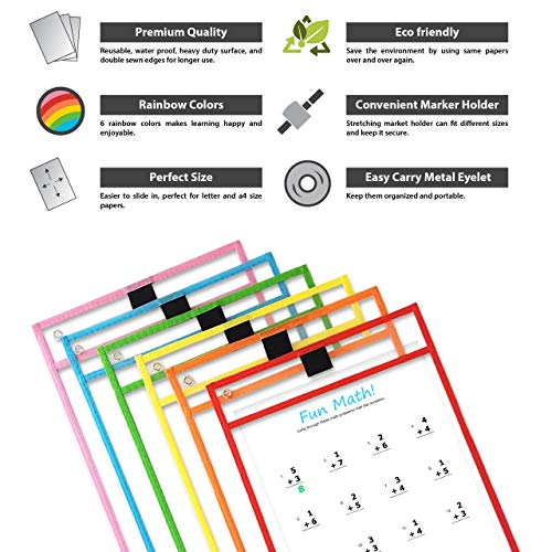 Reusable Dry Erase Pocket Sleeves with Marker Holder (12 Pack) - 9.5 x 12 Inches - Assorted Colors, Adult and Children. Ideal to Use for School, Work, Teaching, Playing, Drawings, or Fun. Photo #6