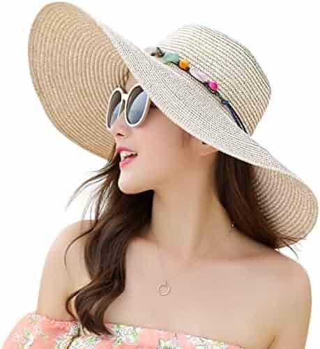5dc49c26 JOYEBUY Women's Floppy Big Brim Hat Bowknot Straw Hat Foldable Roll up Sun  Hat