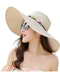 Women s Floppy Big Brim Hat Bowknot Straw Hat Foldable Roll up Sun Hat 82fd9964047