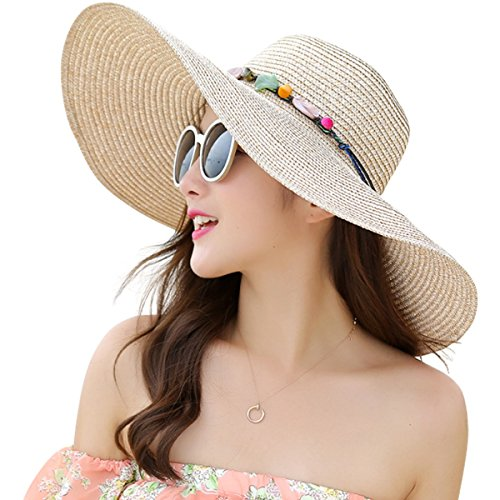 (Lanzom Womens Wide Brim Straw Hat Floppy Foldable Roll up Cap Beach Sun Hat UPF 50+ (Style A-Khaki))