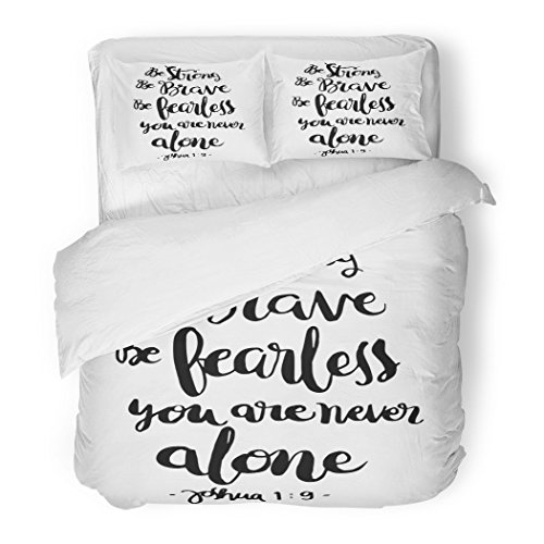 SanChic Duvet Cover Set Be Strong Brave Fearless You Are Never Alone Bible Verse Hand Lettered Quote Modern Calligraphy Christian Decorative Bedding Set with 2 Pillow Shams Full/Queen Size by SanChic
