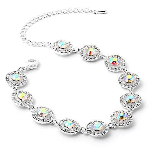 Topwholesalejewel Silver Aurora Borealis Round Shape Rhinestone Circle Wrapped Rhinestone Stud Link Bracelet