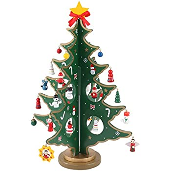 Joyin Toy 14 Inch Tabletop Mini Wooden Christmas Tree With 28 Mini  Ornaments For Christmas Decorations
