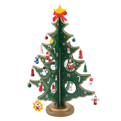 14-inch Tabletop Mini Wooden Christmas Tree with 28 Mini Ornaments for Christmas Decorations (Tree Large Wooden Christmas)