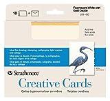 Strathmore STR-105-430 White/Gold Deckle Card (10 Pack)