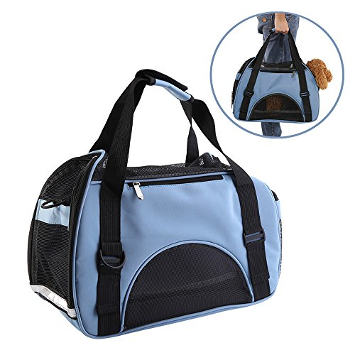Cheap Pet Soft Sided Carrier, Airline Approved Mesh Bag for Small Dog Puppy Cat Outdoor Travel, Hand-held and Shoulder Carry Dual Purpose(Blue)