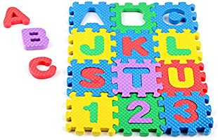 36PCS Numbers Letters Puzzle Mat Education Toys, Mini Soft EVA Foam Play Crawling Mat, Indoor Colorful Mini Toddler Home...