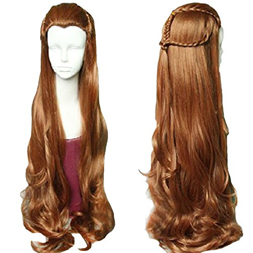 Tauriel Elf Costumes (RightOn 40'' Long Wavy Cosplay Costume Party Wig with Braid Wig Cap Included (Brown))