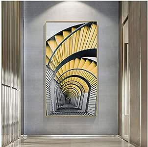 chthsx Color Brillante Pasillo y Escalera Arte de la Pared Pintura de la Lona Cuadros de la Pared para la Sala de Estar Dormitorio y Pasillo Estilo nódico Home Deco 50x100cm Sin