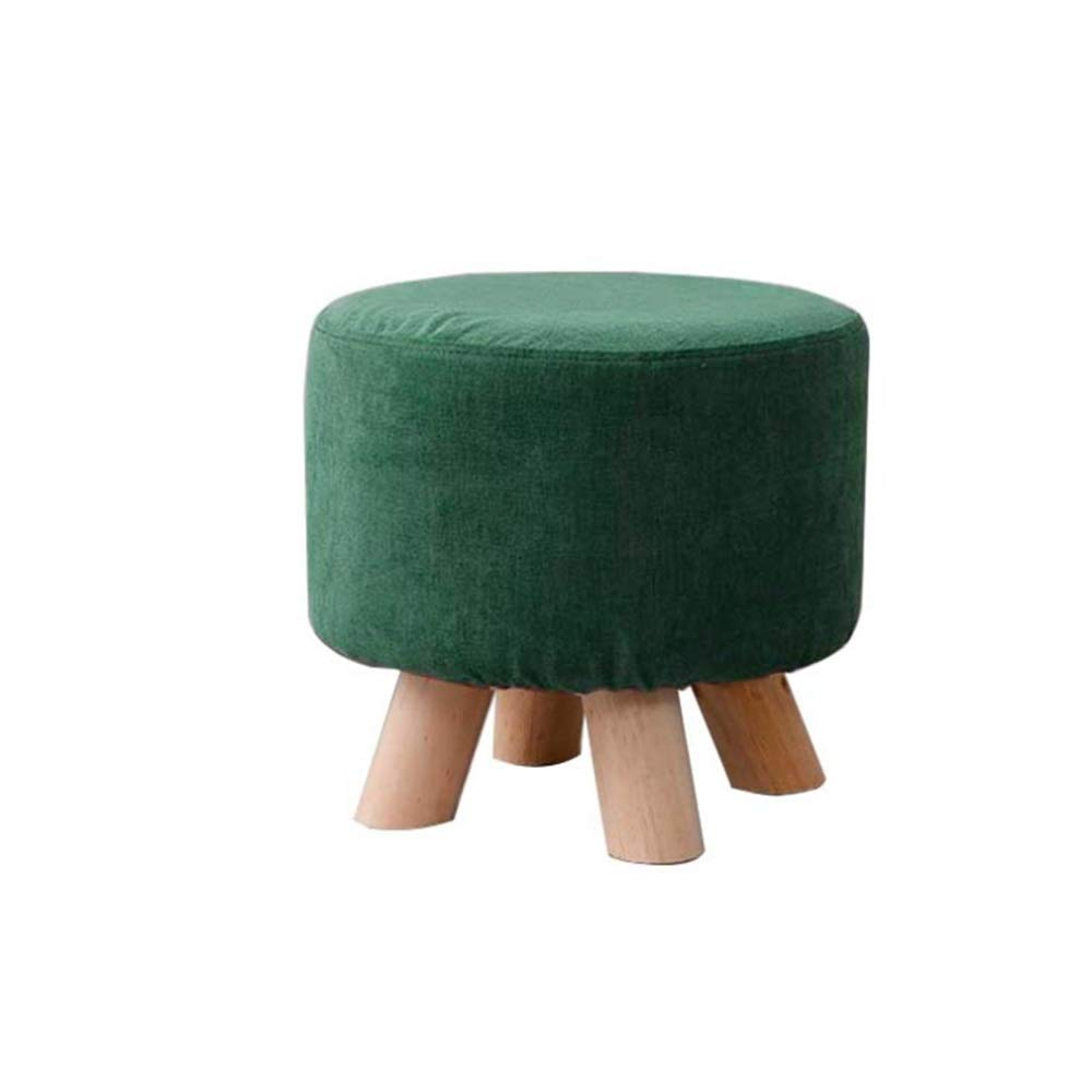 Stool Shoe Bench Change Shoe Stool For Kitchen Bathroom Living Room Dining Dressing Stool Footstool Footrest Square/Round 4 Solid Wood Stool Legs Seat Height 28 CM ( Color : Green1 , Size : Round ) by Cigkany-HO