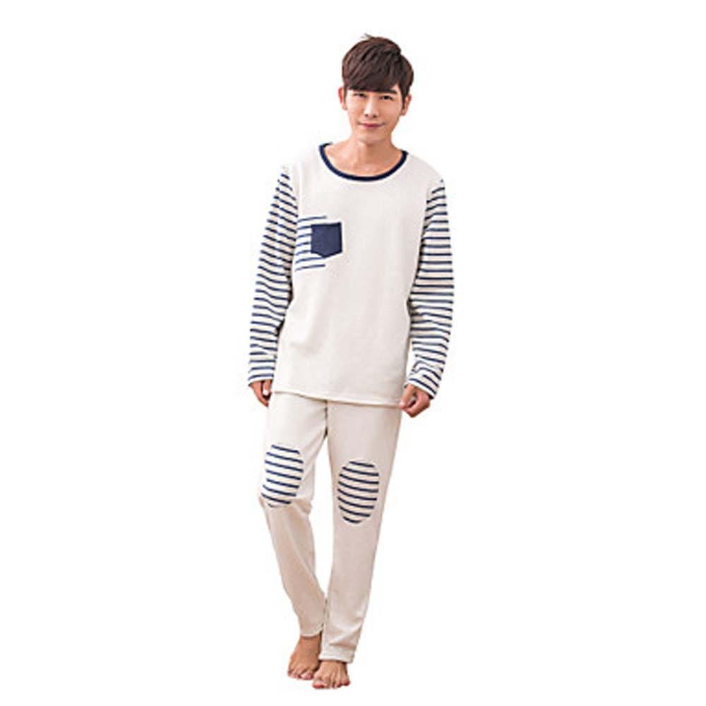 WWQY Winter Korean couple pajamas cotton long sleeves round neck stripes men and women home service pajamas suit , beige , m