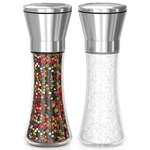 (MIUMI Salt & Pepper Mill Set of 2 - Easy To Use and Adjustable Salt and Pepper Grinder Set, Stainless Steel Top, Thick Glass Body with Large Capacity (7.5 inches tall))