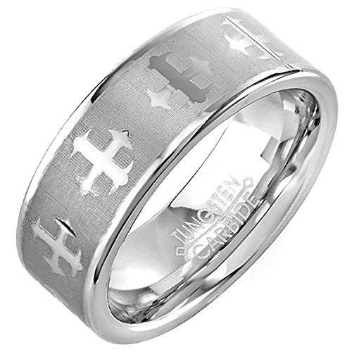 - Tungsten Carbide Men's Ladies Unisex Ring Wedding Band 8MM (5/16 inch) Laser Etched Cross Band Comfort Fit (Available in Sizes 8 to 12) size 7.5