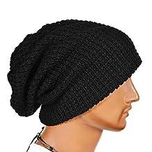 M-Egal Oversized Men Knit Beanie Hat Baggy Long Slouchy Winter Warm Skull Cap Black