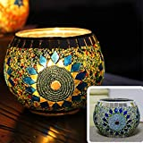 European Vintage Mosaic Glass Sunflower Led Candle Holders Handmade Geometric Mosaic Glass Pieces Bowl Candleholders Flameless Battery Glittery Sequins Candlesticks Candle Lamps for Wedding Home Party