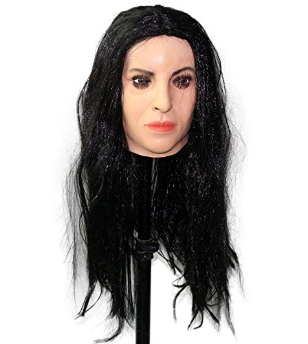 - Top Quality Fancy Dress Costume Latex Crossdressing Female Mask (With Black Wig)