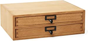 """Kirigen Natural Wood Desktop Storage Cabinet -Shallow Type Drawers - Fax Stand with metal handle - Small File organizer Size 13.78""""L11.02""""W4.33""""H(NA, 2-Layer &2 Drawers)"""