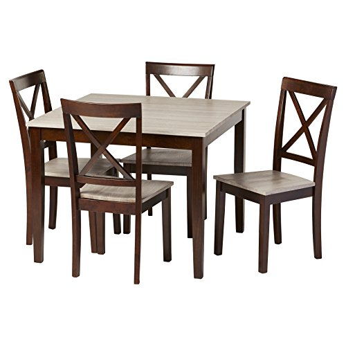 Dining 5 Piece Set with 1 Wood Look Table and 4 Coordinating Chairs with X-Back Design of Rustic Weathered Wood Seats Plus FREE GIFT