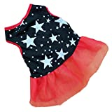 YOMXL Pet Dog Puppy Tutu Princess Dress Fashion Dot Mesh Lace Skirt Party Costume Summer Apparel (S, Black)
