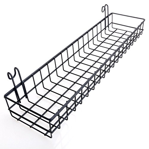 hosaken Multipurpose Mesh Wall Metal Wire Basket, Grid Panel Hanging Tray, Wall Mount Organizer, Wire Storage Shelf Rack for Home Supplies, Wall Decor, Small Size, Black Coated