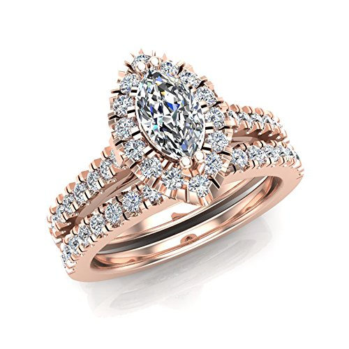 1.25 ct tw Marquise Halo Diamond Wedding Ring Set 18K Rose Gold (Ring Size 4)
