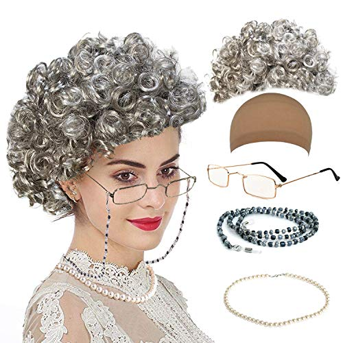qnprt Old Lady/Mrs. Santa Wig, Madea Granny Glasses, Eyeglass Chains Holder and Cords Strap,FauxPearl Beads Choker Necklaces,Style-1 -