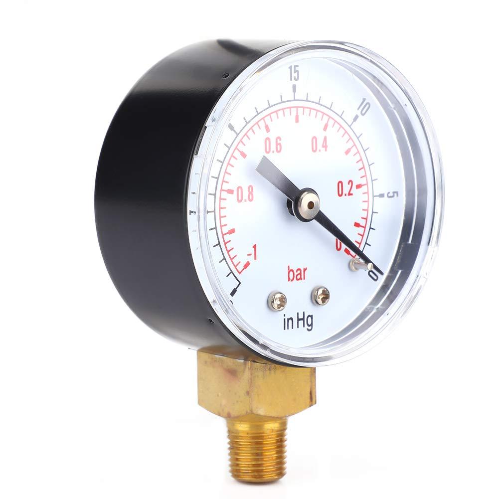 1-0Bar 30-0inHg 50mm Clear Readings 1//8 BSPT Vacuum Gauge for Water