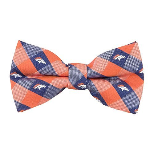 Denver Broncos Checked Logo Bow Tie - NFL Football Team Log by Eagles Wings