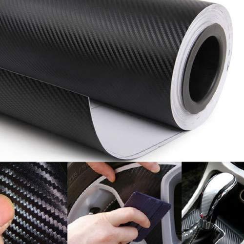 Baost 3D Carbon Fibre High Gloss Vinyl Wrap Adhesive Film Roll Sheet Auto Car DIY Decal Sticker Console Dashboard Cover Trim Sticker Decorative Door Sill Scratch Protector Film 127cmx30cm -