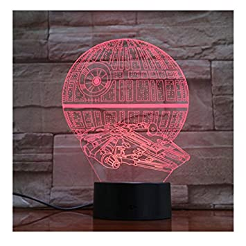 Amazon com: Death Star Falcon Lamp 7 Colors 3D Led Lights