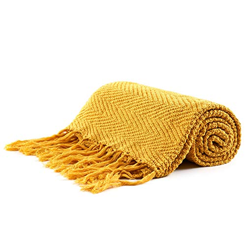 Longhui bedding Fringe Knit Cotton Throw Blanket, 50 x 63 Inches Decorative Knitted Cover with 6 Inches Tassels, Bonus Laundry Bag - 3.12lb Weight, Couch Blankets, Mustard Yellow