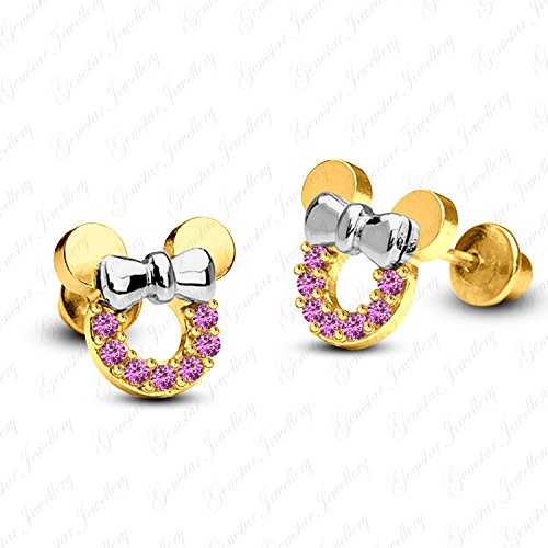 Gemstar Jewellery Excellent Cut Pink Sapphire 14K Two Tone Gold Plated Minnie Mouse Stud Earrings - Pink Sapphire Two Tone Ring