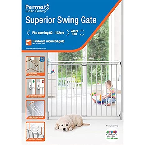 "White Perma Child Safety 24.4/""-40/"" wide /& 29/"" tall Extending Metal Baby Gate with Locking Indicator"