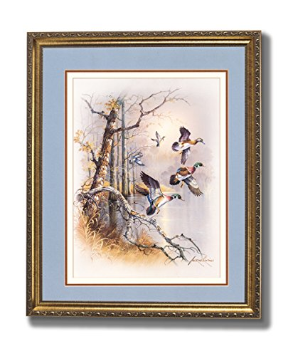 Wood Ducks Descending On Pond Animal Wildlife Cabin Lodge Wall Picture Gold Framed Art -