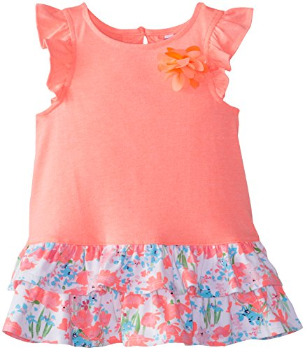 Hartstrings Little Girls' Knit Jersey Tiered Ruffle Tunic, Citrus Coral, 5