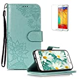 Funyye PU Leather Wallet Case for Samsung Galaxy A3 2017/A320 Free HD Protector,Premium Lace Flower Pattern Magnetic Flip with Cash Pouch Card Slot Design Cover for Samsung A3 2017/A320,Green