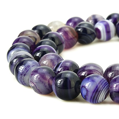 BEADNOVA 8mm Natural Purple Banded Agate Gemstone Smooth Round Loose Beads Approx 16 Inch 48~50 pcs/Strand for for Jewelry Making