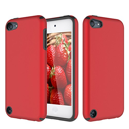 iPod Touch 5 Case, iPod Touch 6 Case, KZONO Heavy Duty High Impact Armor Case Cover 2in1 Soft Shell Protective Case for Apple iPod touch 5 6th Generation -Red+Black (5 Red Touch Ipod)