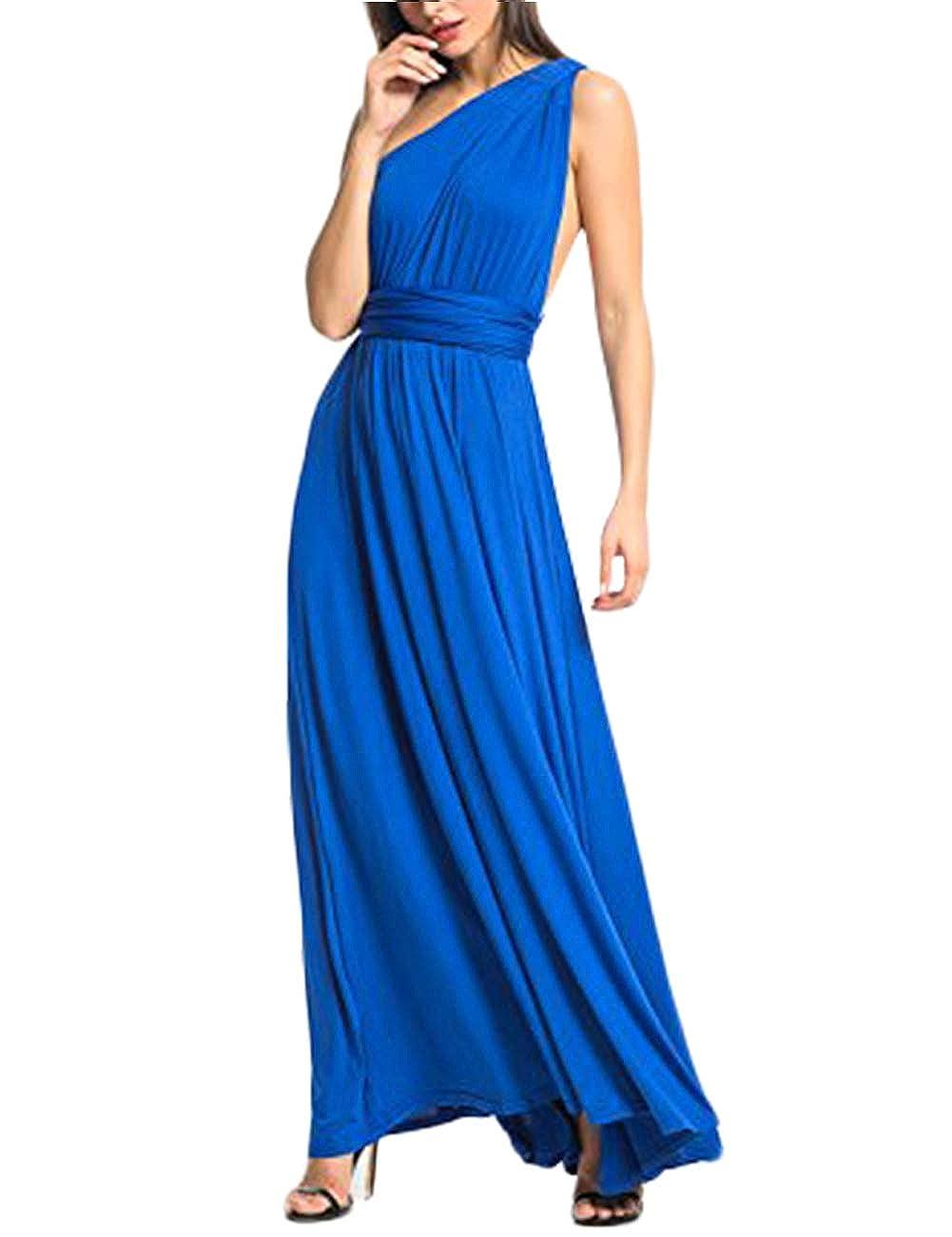 TALLA XL(ES 46-50). FeelinGirl Mujer Vestido de Noche Longitud Máxima Falda Fiesta Cóctel Tirantes Convertibles Multi-Manera Azul XL(ES 46-50)