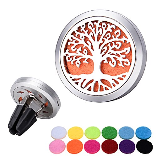 Bluesnow Car Air Freshener Aromatherapy Essential Oil Diffuser Clip, Stainless Steel Hollow Tree of Life 2 Round Locket with 12 Refill Pads