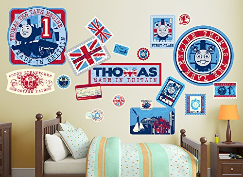 Thomas The Tank Engine Mural - Thomas & Friends Large Travel Stamps Wall Decal Set