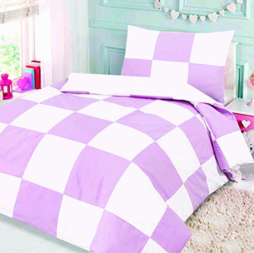 Love2Sleep COTTON RICH JUNIOR COT BED DUVET COVER AND PILLOWCASE 120 X 150 CM : DESIGN PATCHWORK PINK SQUARE
