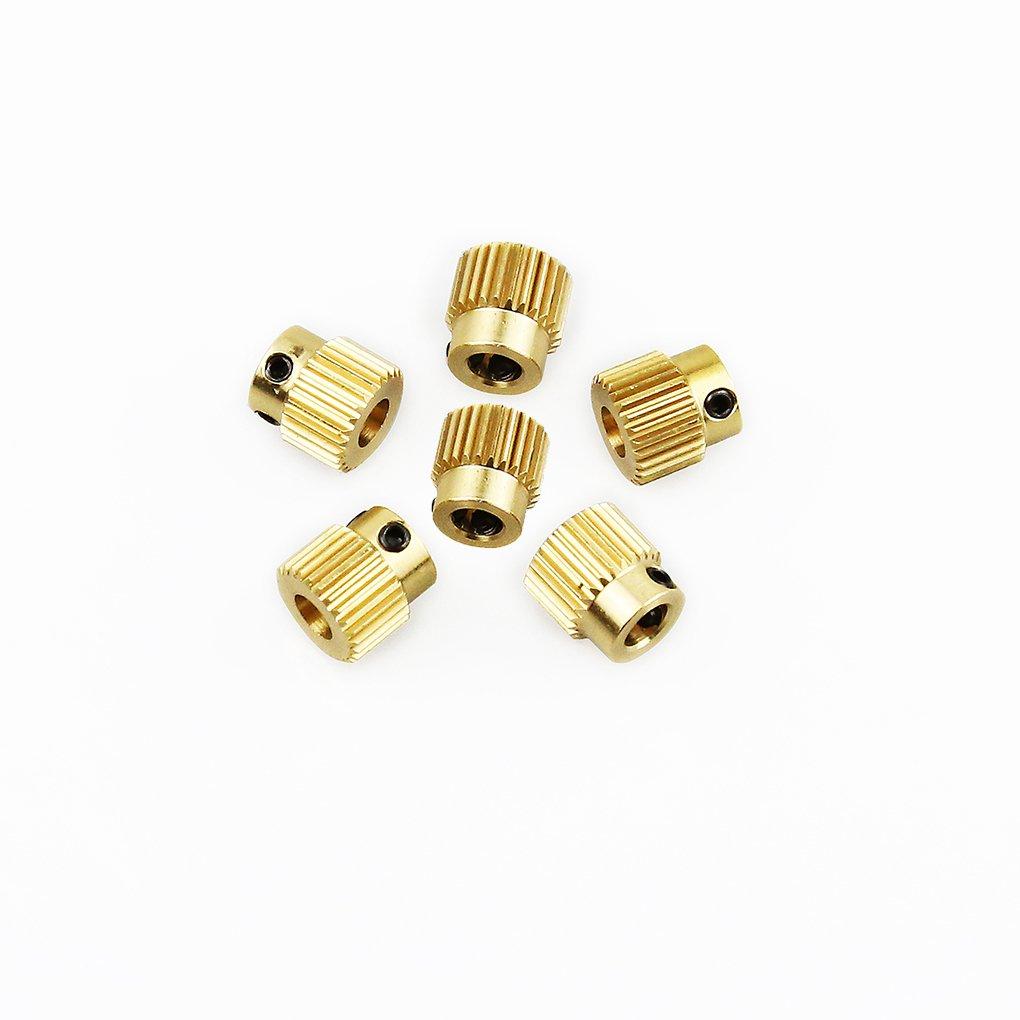 Providethebest 6Pcs 3D-Drucker Extruder Pully 26 Zahnrad Messing Feeding Radzahnrad Versorgung Getriebe Rohstoffliche Rad Enroller