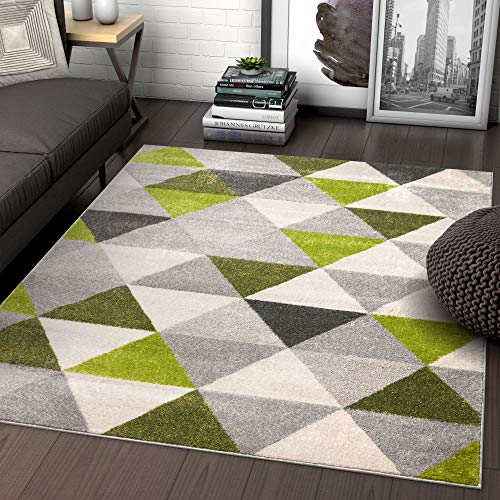 Well Woven Isometry Green & Grey Modern Geometric Triangle Pattern Area Rug Soft Shed Free 3 x 5 (3'3