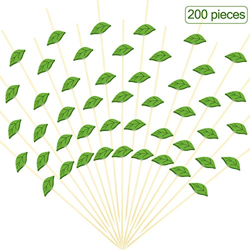 (200 Pieces Cocktail Picks 4.7 Inch Bamboo Food Picks Sandwich Appetizer Cocktail Picks Fruit Toothpick for Hawaii Wedding Birthday Beach Party Supplies, Green Leaves)
