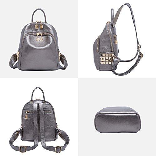 dos sac à femmes pour Rucksack main à Mini sac Fashion en Daypack cuir Véritable Argent les BOYATU gwq0154txn