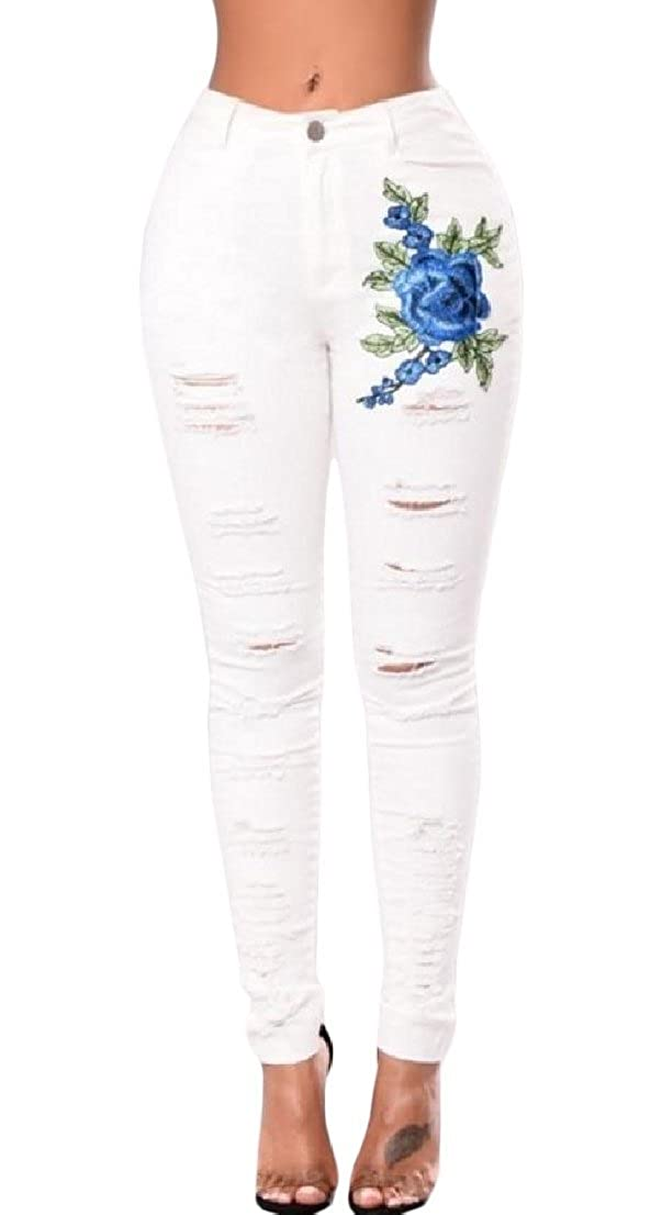 BAYYWomen Fitted Ripped Hole Stretchy Fabric Embroidered Mid Rise Jeans