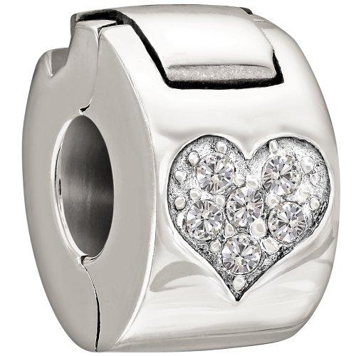 (Chamilia Sterling Silver and Swarovski Crystal Jeweled Heart Lock Bead Charm)