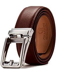 CHAOREN Cinturones Hombre Piel con Hebilla Automática - Diseño sin Agujeros - Talla 28 a la 42 Cinturón de Ajustable - Corte a su Ajuste Exacto